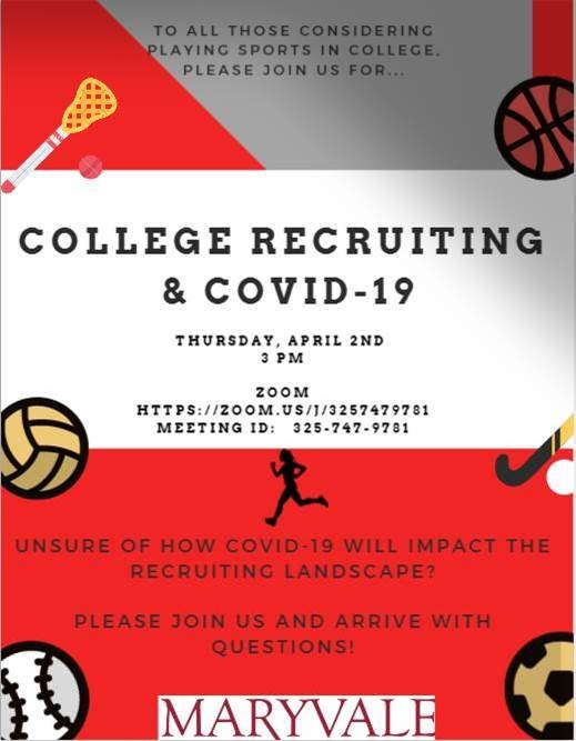 Are you a student athlete considering playing sports in college? Join us at 3 p.m. April 2 for a Zoom meeting to learn more!
