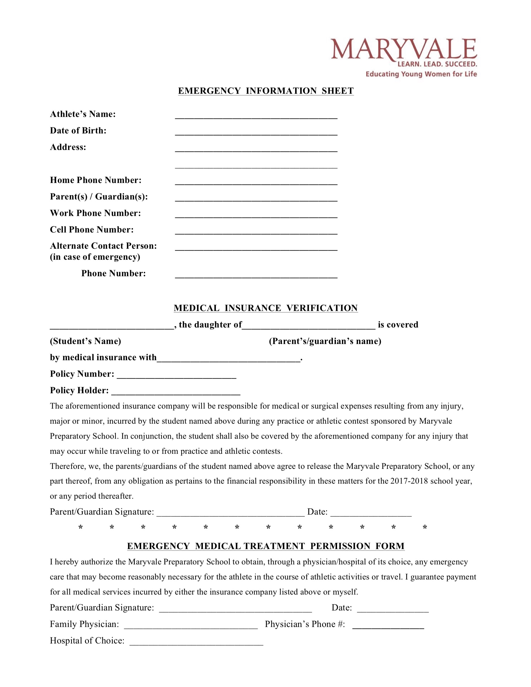 Maryvale Athletic Emergency Contact Form