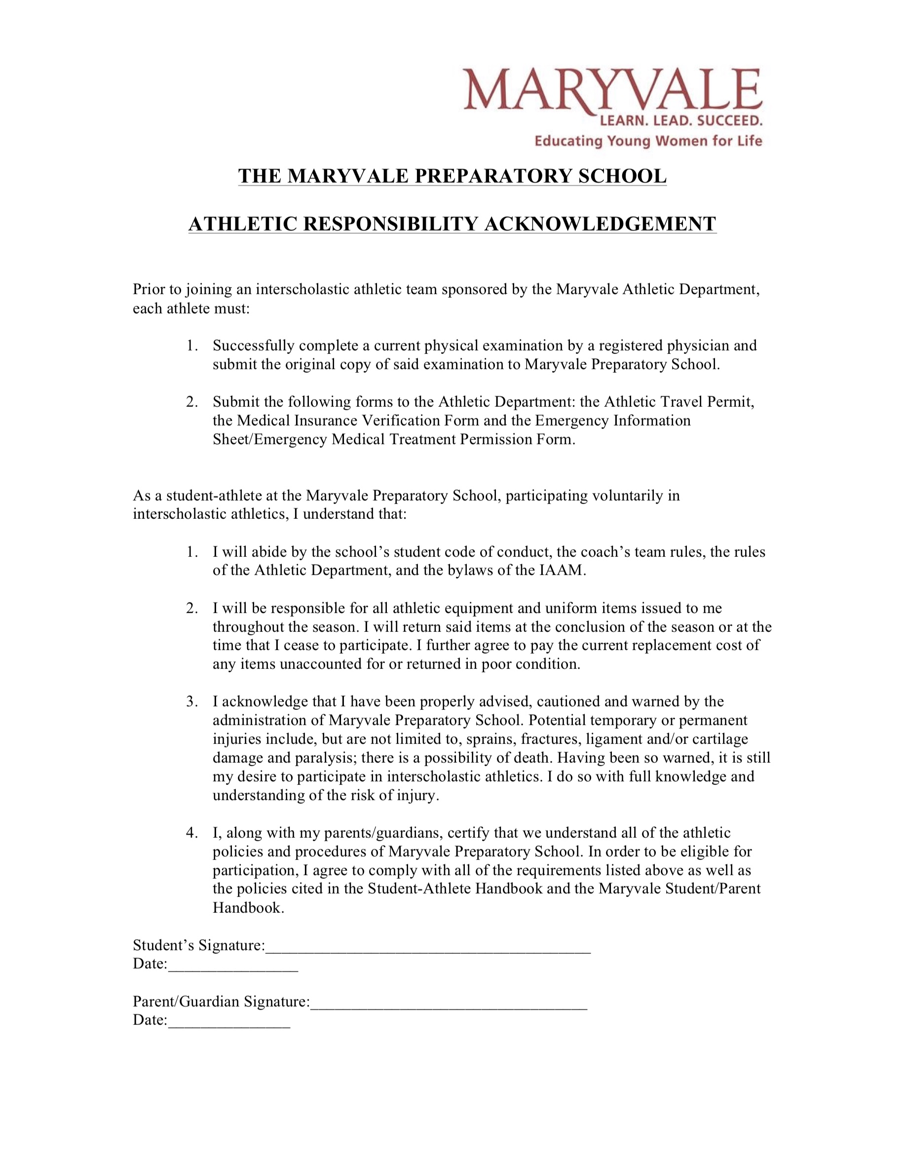 Maryvale Athletic Responsibility Form