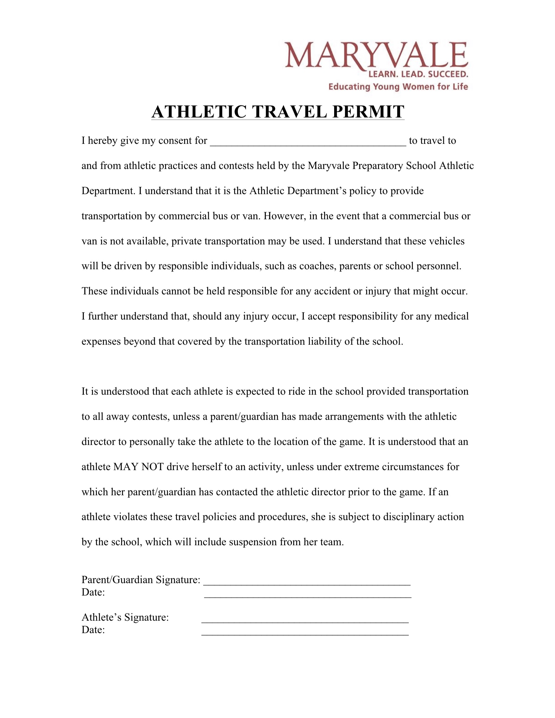 Maryvale Athletic Travel Permission Form